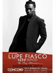 lupe fiasco concord hall 2015 boy illinois badd tattoo chicago